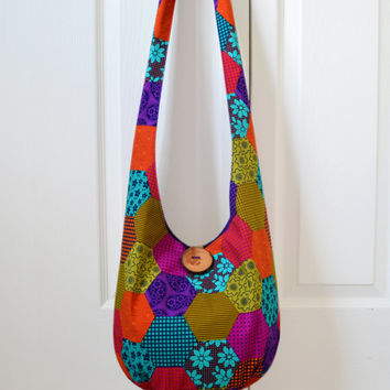 Hobo Bag, Faux Patchwork, Sling Bag, Polka Dots, Geometric, Hippie Purse, Crossbody Bag