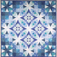 Quilted Wall Hanging Frost in the Air, Winter Themed Glowing Blue Wall Art