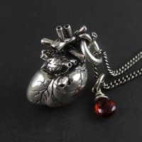 """""""Anatomical Heart"""" Necklace by Lost Apostle (Antique Silver)"""