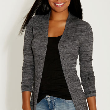 spacedye cardigan with ribbed detail