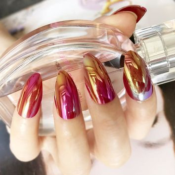 Shiny Deep Red Rainbow Artificial Olecranon long Fake nails Press On Nails Gradient Nail Art Tips Easily to Use with Glue Sticke