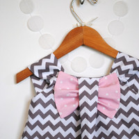 Big Bow Dress, Chevron Grey, Pink, Toddler, Girl Clothing, Polka Dot, Easter, Spring Special Occasion Outfit, Birthday Party, Size 1T - 5