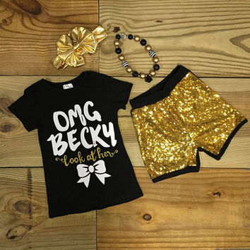 """OMG Becky"" Black Gold Sequin Short Set"