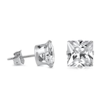 .925 Sterling Silver Square Princess Cut Clear CZ Stud Earrings in 3mm-10mm