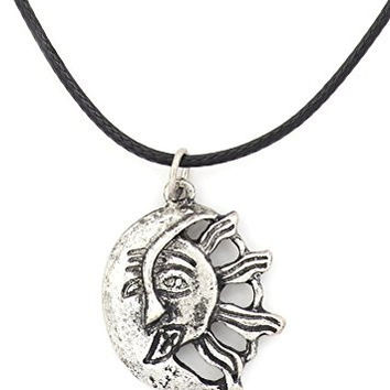 Sun Kissing The Moon Necklace Silver Tone NV71 Lunar Solar Abstract Art Pendant Fashion Jewelry