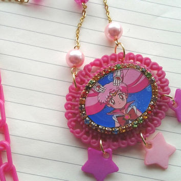 Sailor Moon Necklace - Cute Chibi Moon - Pastel Goth - Sailor Scout Jewelry