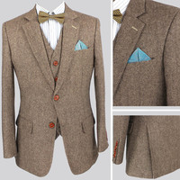 Light colored Brown dot retro Groom Tuxedos custom made men slim fit suits Blazers Men's tailor made suit  men suits