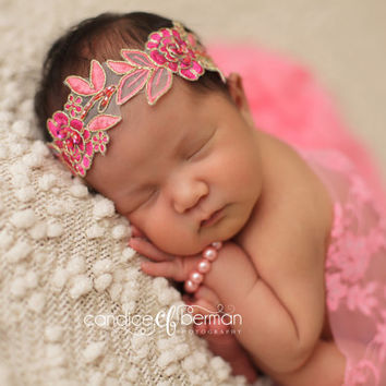 Lace Wrap, Pink Stretch Wrap, Newborn Lace Wrap, Baby Girl Prop, Newborn Photo Prop, Baby Swaddle, Pink Wrap