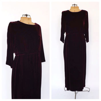 Vintage Garnet Red Gown Edwardian Style Dress 90's does 1930's Velvet Maxi Gown Victorian Gothic  Edwardian Art Deco 40's Christmas Gown