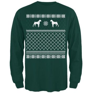 DCCKJY1 Boxer Ugly Christmas Sweater Forest Adult Long Sleeve T-Shirt