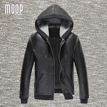 Black genuine leather jackets and coats men 100%lambskin hooded motorcycle jacket coat veste cuir homme 2 patch pockets LT838