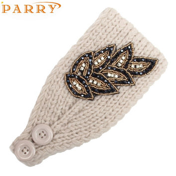 Headbands Newly Design Women Fashion Diamond Beads Leaf Pattern Knitted Wool Warm Hair Bands 160914 Drop Shipping