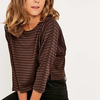 Noisy May Burgundy Striped Crop Top - Urban Outfitters