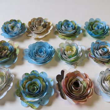 """12 Piece Scalloped World Atlas Roses, Book Page Paper Flowers Set, Travel Theme, Floral Table Decor 1.5"""" Rosettes"""