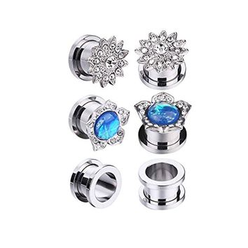 BodyJ4You 6PCS Screw Fit Ear Plugs Surgical Steel Created-Opal Stretcher Flower Gauges Set 0G (8mm)
