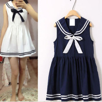Japanese kawaii navy bowknot vest dress