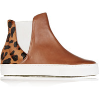 Schutz Kamyla leather and calf hair sneakers – 50% at THE OUTNET.COM
