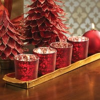 Rustic Tealight Holder - Red - Set of 6