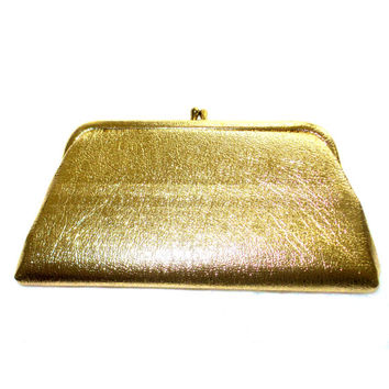 1960 vintage gold clutch handbag purse pretty purse shiny