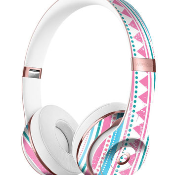 Pink Green Teal Vertical Pattern Full-Body Skin Kit for the Beats by Dre Solo 3 Wireless Headphones