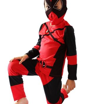 Red 3 -7 Years Boy Deadpool model Role-playing cosplay,Halloween costumes kid Deadpool model clothing ZG:S-XXL