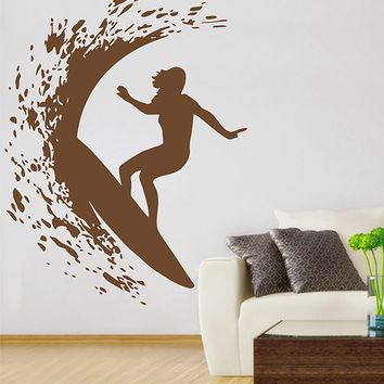 ik2911 Wall Decal Sticker surfing wave sea ocean sport hall bedroom