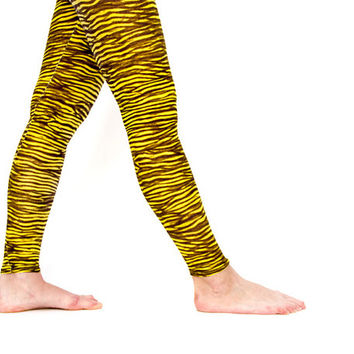 Yellow Zebra Tye Dye Leggings, spring leggings