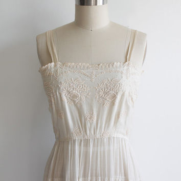 Vintage Edwardian Embroidered Cotton Slip Dress | xs small