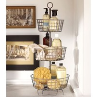 Tiered Bath Storage - Vintage Iron finish