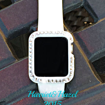 38mm Protective Apple Watch Case with hand placed Swarovski crystal Elements by HarrietandHazel