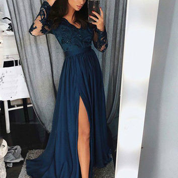 Sexy A-Line Prom Dresses Navy Blue Slit V-Neck Evening Gowns Chiffon Formal Gowns Cheap Graduation Dress Hot J8920
