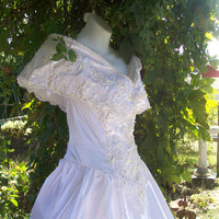 Vintage White Wedding Dress Victorian by GLAMOURGIRLCHIC on Etsy