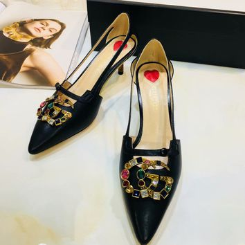 GUCCI:Fashion Bamboo heel Diamond Colorful Double G Pumps Hoolow Sandals Black