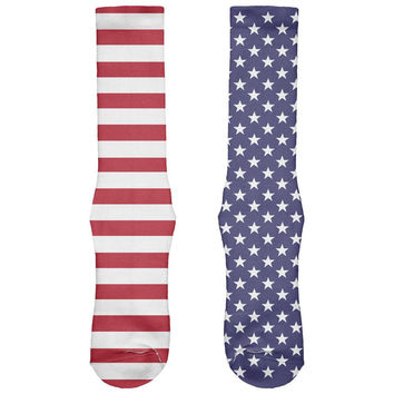 4th of July American Flag Stars & Stripes All Over Crew Socks