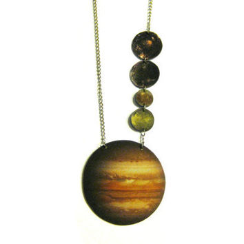 Jupiter and moons hanging necklace by TheDopelerEffect on Etsy