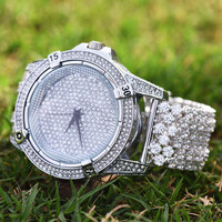 Mens Techno Pave Cluster Iced Tray Band Watch