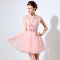 Sexy Pink Sheer Neckline Short Homecoming Dresses Crystal Lace A-line Party Dress New Real Pictures Rode De Soiree LX011