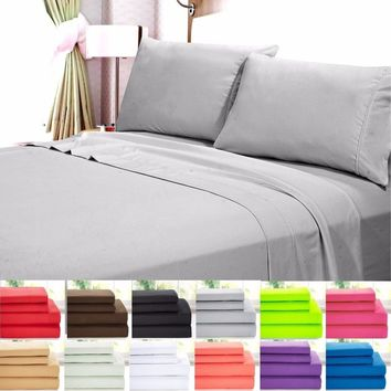 2017 4 Piece: Ultra Soft 1800 Series Bamboo Bed Sheets (12 Colors)