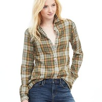 Banana Republic Womens Soft Wash Multi Plaid Boyfriend Shirt