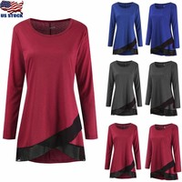 Women Round Neck Long Sleeve Hem Tunic Top Casual Solid Blouse T Shirt Plus Size