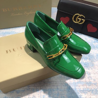 Burberry Link Detail Patent Leather Block-heel Loafers