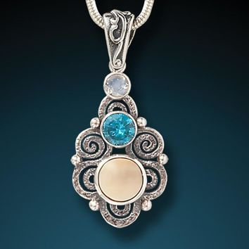 """""""Stardust"""" Fossilized Walrus Tusk, Blue Topaz, and Moonstone and Sterling Silver Pendant"""