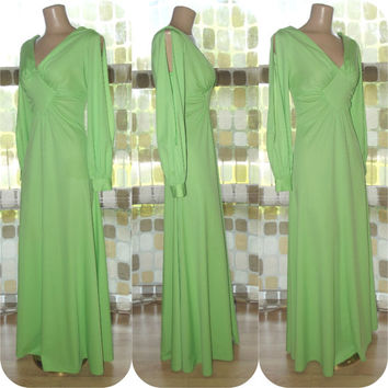 Vintage 70s AMAZING Lime Green Split Sleeve Maxi Dress M/L Hostess Gown Disco Chic