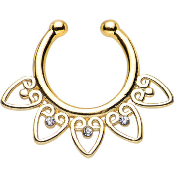 Clear Gem Gold IP Tribal Hearts Non-Pierced Clip On Septum Ring | Body Candy Body Jewelry