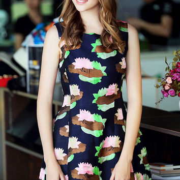 Navy Floral Print Sleeveless A-Line Mini Dress