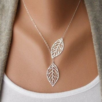 Big Leaf Pendant Necklace Clavicle Chain For Women
