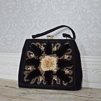 Vintage 1950s Gilded Leaf + Hand Decorated Handbag
