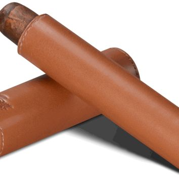 Brizard Sunrise Tan Leather and Ebony Single Cigar Tube - Made in USA