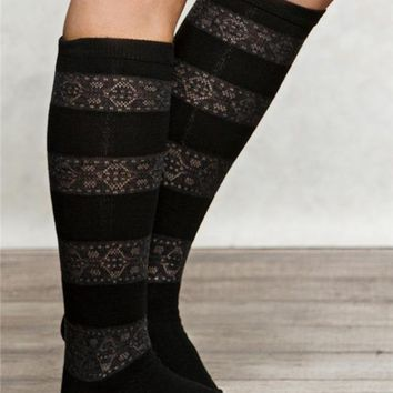 Lace Stripe Boot Socks