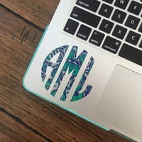 Lilly Pulitzer Inspired Monogram Decals- Monogram Sticker- Waterproof Decal- Preppy Monogram Stickers